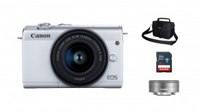 정품 EOS M200 (White) 15-45 + 22 KIT + 3150 Bag + 16G